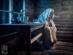Sorrow (Juhamatti Vahdersalo) Tags: woman misery sad cottage sitting moonlight light old vintage retro
