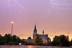 More Lightning over St. Paul's Lutheran Church (Ryan Ojibway) Tags: lightning stpauls lutheran church fortatkinson wi wisconsin storm thunderstorm severe sky dusk