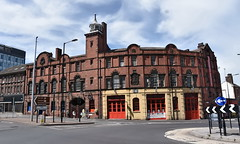 fire (Harry Halibut) Tags: 2016andrewpettigrew allrightsreserved imagesofsheffield images sheffieldarchitecture sheffieldbuildings colourbysoftwarelaziness sheffield south yorkshire old fire station headqurters west bar roundabout red brick sheff1607172986 emergency services musem national