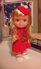 Sweet vintage doll :) (trinacolada world) Tags: girl doll vintage cute blonde beret hat dress