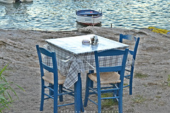(Love me tender .**..*) Tags: dimitrakirgiannaki photography greece greek 2016 summer august sea boats landscape seascpae tables taverna chairs water blue nikond3100 colors        aigina sporades tradition europe