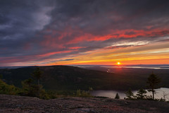Sunset from Cadillac Mountain (Bar Harbor, Maine) (*Ken Lane*) Tags: geo:lat=4435204466 geo:lon=6823066592 geotagged ottercreek unitedstates usa acadia acadianationalpark attraction barharbor barharbormaine cadillacmountain clouds cloudysky eastcoast hancockcounty hancockcountymaine horizon landscape lookout maine mdi mountdesertisland mountain mountainview nationalpark nature nikon northeastatlantic northeastunitedstates northeasternunitedstates observationpoint outdoor overlook scenicoverlook scenicview sky sunrays sunset touristattraction tourists travel travelphotography cool nice awesome beautiful serene atomosphere environment cloudporn sonnenuntergang lecoucherdusoleil  zonsondergang  lapuestadelsol  tramonto nikonflickraward