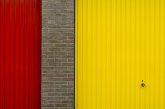 Red and yellow doors (on Explore) (Jan van der Wolf) Tags: map11348v door doors deur deuren lines lijnen red redrule rood yellow geel wall muur composition