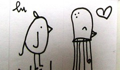 (lu.glue) Tags: lu luglue basel stickers kleber streetart animals tiere animali animaux bird vogel tintenfisch sw bw handmade handdrawn gezeichnet dessin disegnato zeichnung kreatur smile lcheln heart love