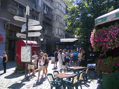 Skadarlija - Belgrade August 2016 (seanfderry-studenna) Tags: ulica skarlija beograd gelgrade cobbled street artisan area arts crafts tourism tourist cafes bars restaurants eating places tours visitors vacation holiday attraction city old historic character serbia serb srbija republic balkan balkans europe european capital people persons candid public outdoor outside   republika buildings architecture history culture quirky artsie pedestrian summer sun sunhine shade shadows august 2016 nina crowd tour