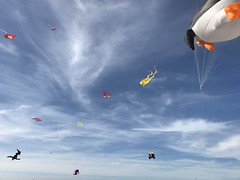 A small armada of kites in the sky over the seaside resort Warnemnde. (arwed.kubisch1) Tags: warnemnde ostseebad blue cloudy clouds sky blau wolkig wolken himmel kite kites drachen seaside resort penguin pinguin