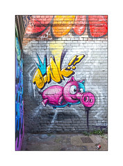 Street Art (Woskerski), East London, England. (Joseph O'Malley64) Tags: woskerski streetart urbanart graffiti eastlondon eastend london england uk britain british greatbritain art artist artistry artwork mural muralist 3d pig piglet brickwork pointing securitymesh concrete can litter urban aerosolart aerosol cans spray paint wall walls urbanlandscape firehydrant