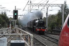 "British Railways Black LMS 'Kettle', 45690 ""Leander"" (37190 ""Dalzell"") Tags: br britishrailways black kettle lms londonmidlandscottishrailway 5xp jubilee 45690 leander 5690 wcrc westcoastrailwayscompany thelunesrivertrust railtour northwestern wigan"