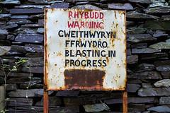 Penrhyn Quarry, Bethesda, N. Wales (Rogpow) Tags: bethesda ogwenbank penrhynquarry slatequarry wales lonlasogwen quarry slate sign snowdonia fujifilm fuji fujixt1 rusty rust
