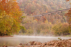 Autumn Fog on the Clinch (Back Road Photography (Kevin W. Jerrell)) Tags: trestles railroad coppercreek clinchriver scottcounty virginia autumn fall colorful fog foliage water rivers streams backroadphotography nikond60