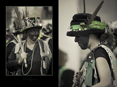 Duo (kerto.co.uk) Tags: carnival winter people woman green up canon women dancers dress feathers hats colorized fancy morris coloured dressed colourize wokingham 2014 subdued kerto subdues canon5dmarkiii canon5diii canon5dmark3