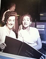 """Maria Callas and Anna Moffo - Teatro alla Scala (""""La Bohème""""), August-September 1956 - Exhibition at Feltrinelli-Martiri in Naples, until February 1, 2015 (Carlo Raso) Tags: italy milan opera milano mariacallas teatroallascala annamoffo"""