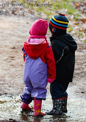 _MG_3950 (Gill & Graham Brown) Tags: winter boy cold girl canon children puddle young together 7d backs wellies muddy whatnext canon70200f28lll