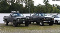 Black pick ups (The Rubberbandman) Tags: road street school usa ford chevrolet up car america truck germany army us offroad pickup hannover oldschool camo chevy german american vehicle pick oldcar silverado mag 250 roadcar f250 fordf250 camotruck chevroletsilverado streetmag offroadcar