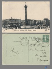 PARIS - La Colonne de Juillet, Place de la Bastille (bDom) Tags: paris 1900 oldpostcard cartepostale bdom