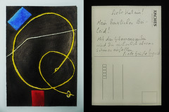"Postcard to Katrin: Albert Einstein`s Violin String, Blue Rubber, Red Tape, scratch on my table at a Rehearsal Room, Drrenmatt ""The Physicists Die Physiker"" Einstein`s Geigensaite, blauer Radiergummi, rotes Klebeband, Ri im Holz des Tisches. Probebhne (hedbavny) Tags: vienna wien blue red music white abstract black rot art yellow ink work painting studio austria sketch sterreich theater post mail theatre rehearsal drawing kunst linie postcard diary probe einstein rubber line tape gelb string mailart blau musik curve backstage tisch arbeit tagebuch tinte schwarz abstrakt kurve postkarte alberteinstein violine workingroom werkstatt handschrift weis ansichtskarte streicher skizze universum probebhne radiergummi arbeitsraum saite klebeband drrenmatt radierer diephysiker hedbavny ingridhedbavny korrespondenzkunst geigensaite"