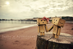 A Day At The Seaside (loulovesdanbo) Tags: wood stilllife cute beach toy toys seaside sand scenery couple colorful emotion sweet outdoor character exploring explore bow expressive emotive outing danbo toyphotography softtone revoltech danbos danboard danboru danbomini danbophotography