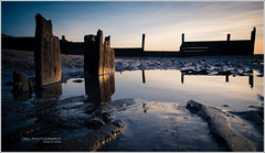 cleveleys_beach_evening-4 (D_M_J) Tags: uk sunset seascape west beach water landscape 1 coast xpro break fuji north lancashire driftwood breakwater 18mm cleveleys fylde