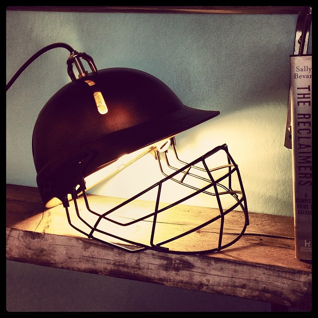 How are you celebrating the #cricket #world #cup? #CWC15 This was a beaten up #old #cricket #helmet before I #reclaimed it & gave it some #TLC 😊 #askcaptain #worldcup  www.salvagesister.co.uk #twitter #reuse #salvage #light #lights #lighting #indvsb
