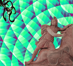 pychcadelic renaissance (Joelstuff V4) Tags: statue photomanipulation popart octopus psychadelic scared