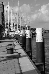 Anleger (JoergSabel) Tags: white black port river germany deutschland boot boat ships fjord anleger hafen weiss schiff schwarz holstein habour poller kappeln schleswig schlei