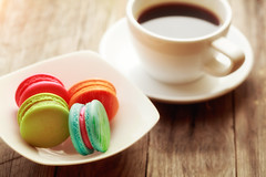 Macaroons (Krunja) Tags: wood old morning food brown white black france hot color cup kitchen coffee up closeup modern breakfast vintage dark french table wooden cafe colorful close flavor natural drink background space traditional rustic beverage style fresh biscuit cups mocha foam snack mug croissant espresso taste caffeine cappuccino saucer macaroons