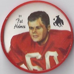 1964 Nalley's Potato Chips CFL Plastic Football Coin (type 1 back) - PAT HOLMES #31-N (Calgary Stampeders / Canadian Football League) (upgraded coin) (WhiteRockPier) Tags: 1964 nalleys football coins caps footballcoins footballcaps bclions britishcolumbialions edmontoneskimos calgarystampeders saskatchewanroughriders winnipegbluebombers blank back blankback cfl canadianfootballleague potatochips vintage patholmes