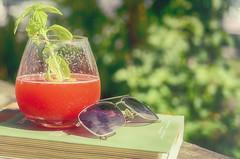 Strawberry Lemonade (flashfix) Tags: august142016 2016 2016inphotos nikond7000 nikon ottawa ontario canada 40mm drink glass sunglasses bokeh foodphotography sweetsunday happysweetsunday hss book strawberrylemonade red basil