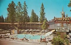 Vintage Postcard - Stardust Lodge - South Lake Tahoe (hmdavid) Tags: vintage tahoe southlaketahoe california postcard 1960s stardust motel sign laketahoe lodge star googie