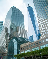 World Trade Center (Adam Diamond Photography) Tags: city blue vacation sky newyork reflection building nature skyline architecture clouds skyscraper mirror colorful cityscape ombre gradient trips canon5d bigapple