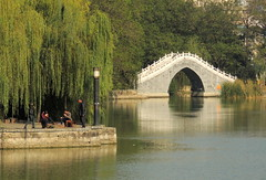Chinese bridge in Chinese garden - Baogong of Hefei (Germn Vogel) Tags: asia china eastasia anhui hefei baohe lordbao park pond waterreflection bridge traditional architecture chinesegarden chinese relaxing willow tree travel tourism landscape promenade baogong