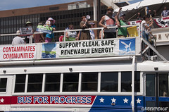 Bus for Progress (Greenpeace USA) Tags: actionsandprotests demonstration activists philadelphia pennsylvania unitedstates tpp oil fracking outdoors day summer groups people signs banners climate cleanenergy bus