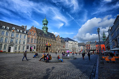 City Square in Mons, Belgium (` Toshio ') Tags: toshio mons belgium square europe european hoteldeville cityhall clouds city people europeanunion fujixe2 xe2 cafe architecture history