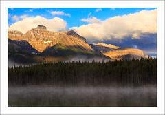 Through The Mist (clark_monson) Tags: herbertlake banffnationalpark canadianrockies alberta icefieldsparkway sunrise mist mountniblock