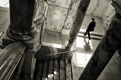 ** (donvucl) Tags: london va figure blur fujix100s bw blackandwhite donvucl interior lightandshade marble columns staircase pov shadows sepia