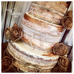 Burlap & Lace (Daisy Loves Cake) Tags: rustic weddingcake tiered burlap hessian lace metallic rosegold gold buttercream carrot chocolate ganache amaretto fruit cake layered