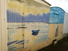 artistic beach pre view (gerrygoal2008) Tags: painting wall street art landscape sea ocean view normandy colours boat beach barque scenery paysage doors door porte cabanon cabane plage