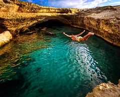 Some people can fly (alemarin) Tags: grotto jumping otranto people poesia salento water