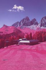 Kristiania (fra_padovani) Tags: aerochrome infrared hoya dolomites dolomiti mountains landscape