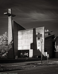Modern Church (mjardeen) Tags: konica57mmƒ14hexanon konica 57mm ƒ14 hexanon sony a7ii a7m2 tacoma wa washington on1 on1effects church modern concrete architecture building cross black white bw ir infrared converted 720nm lifepixel landscapesshotinportraitformat landscape