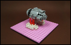 Take-off (Karf Oohlu) Tags: lego moc microscale microspacetopia takeoff scifi spaceship rocketthrusters