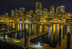 The Vancouver Waterfront (Daniel P Froese) Tags: nightscape bluehour blue hour photo photos picture pictures image images vancouver granville island falsecreek false creek reflection cityscape waterfront dock building buildings