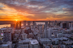 Downtown San Diego Sunset (without reservation) Tags: sandiego downtown downtownsandiego sandiegosunset cityscape city themark thestrata thepinnacle sonya7rii gaslamp petcopark