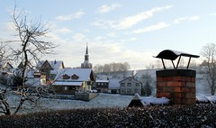 Chimney for cold Brden? (:Linda:) Tags: chimney snow church germany village thuringia cloudysky brden