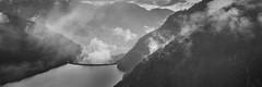 esondazione (mbeo) Tags: november bw panorama fog clouds landscape nuvole novembre flood dam bn nebbia overflow diga esondazione mergoscia valleverzasca breathtakinglandscapes tracimare