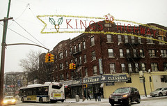 Snow Day on Kings Highway (Robert S. Photography) Tags: street nyc winter snow storm color bus brooklyn buildings shops blizzard canonpowershot kingshighway 2015 a3400