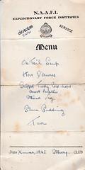 Christmas at the Naafi 1945 (overthemoon) Tags: christmas menu army dad memories worldwarii papers handwritten christmasdinner naafi