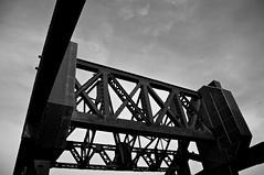 Some Frontier II (4oClock) Tags: bridge sky blackandwhite black industry mono dock nikon lift engineering heavy grimsby twenties d90
