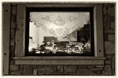 Christmas window (Artico7) Tags: christmas bw italy window stone lights ancient fuji curtain ornaments friuli aquileia raindear xe1