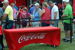 Drink Coca Cola and drink more COKE, please! (kennethkonica) Tags: blue red summer people usa white men animals america standing outdoors nikon women midwest waiting drink indianapolis hats indy indiana coke nikond70s cocacola tablecloth thirsty hoosiers softdrink overweight softdrinks